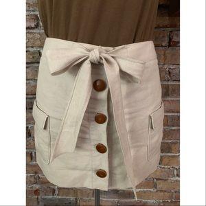 J. Crew Linen Cotton Bow Tie Button Down Skirt